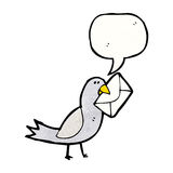 Cartoon carrier pigeon Stock Photography