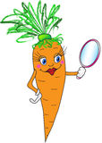 Cartoon carrot. With mirror. Vector illustration (EPS 8 Stock Image