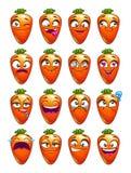 Cartoon carrot character emotions set. Stock Photos