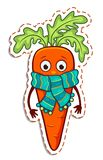 Cartoon carrot in the scarf Stock Photos