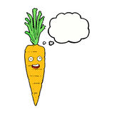 Cartoon carrot with thought bubble Stock Photo