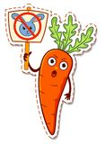 Cartoon carrots protest against rabbits Stock Images