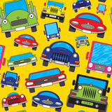 Cartoon cars. Abstract colorful cartoon cars. Seamless pattern. Vector illustration Royalty Free Stock Photography