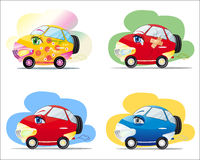 Cartoon cars. Funny colorful cars with eyes in cartoon style Royalty Free Stock Images