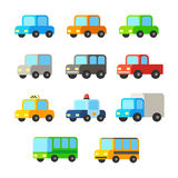 Cartoon cars set. Set of cute colorful cartoon cars. Personal cars, vans, buses vector illustration Stock Photography