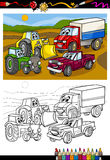Cartoon cars and trucks for coloring book stock illustration