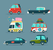 Cartoon Cars. Urban Cartoon Cars Icons Set in a Flat Design Stock Photo