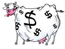 Cartoon of a cash cow with dollar Royalty Free Stock Image