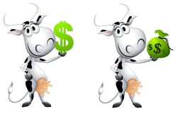 Cartoon Cash Cow Metaphor. An illustration featuring your choice of 'cash cows' each holding money and smiling Stock Photos