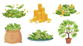 Free Cartoon Cash. Green Dollar Banknotes Pile, Rich Gold Coins And Pay. Cash Bag, Tray With Stacks Of Bills And Money Tree Royalty Free Stock Image - 160965256