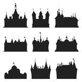 Cartoon castle architecture silhouette vector illustration Royalty Free Stock Images