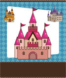 Cartoon castle card. Vector drawing Stock Image