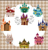 Cartoon castle card Stock Images
