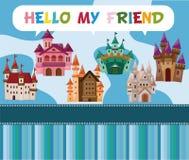 Cartoon castle card Stock Images