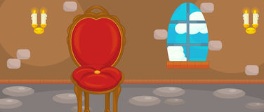 Cartoon castle chamber with throne - for different usage. Happy and funny traditional illustration for children - scene for different usage royalty free illustration