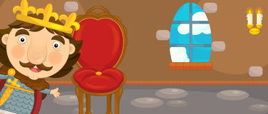 Cartoon castle chamber with throne and king - for different usage. Happy and funny traditional illustration for children - scene for different usage royalty free illustration