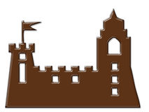 Cartoon Castle chocolate frame isolated Stock Images
