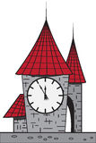 Cartoon castle with a clock Stock Photo