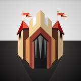 Cartoon castle drawn in perspective. Icon. Stock Photography