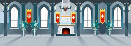 Cartoon castle hall with knights, fireplace and windows in big r vector illustration