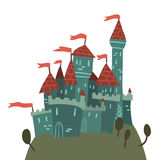 Cartoon Castle on a Hill flat icon. The vector illustration of cartoon castle on a hill for ui, web games, tablets, wallpapers, and patterns Royalty Free Stock Photography