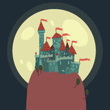 Cartoon Castle on a Hill flat icon. The vector illustration of cartoon castle on a hill for ui, web games, tablets, wallpapers, and patterns Stock Photo