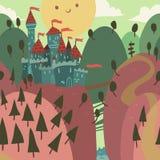 Cartoon Castle on a Hill. The seamless vector illustration of cartoon castle on a hill Stock Photo