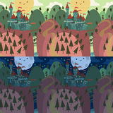 Cartoon Castle on a Hill. The vector illustration of cartoon castle on a hill. seamless pattern for games presentations, ui tablets, smart phones Stock Images