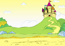 Cartoon castle. The illustration shows old lock on landscape summer background meadows and road. Illustration done in cartoon style Royalty Free Stock Photos