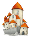 Cartoon castle - isolated - for different usage. Happy and funny traditional illustration for children - scene for different usage royalty free illustration