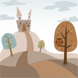 Cartoon castle lanscape Royalty Free Stock Images
