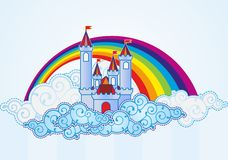 Cartoon castle in the sky. Cartoon castle and rainbow in the sky Stock Illustration