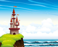 Cartoon castle standing on a cliff on a lue sea and sky. Cartoon red castle standing on a cliff with green blossom grass on a blue sea with waves and cloudy sky Stock Photos
