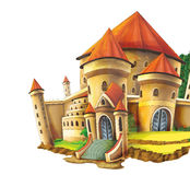 Cartoon castle on white background - for different usage. Beautiful and colorful illustration for the children - for different usage - for fairy tales stock illustration