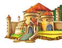 Cartoon castle on white background - for different usage. Beautiful and colorful illustration for the children - for different usage - for fairy tales vector illustration