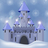 Cartoon castle in witer Stock Photos