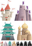 Cartoon Castles on White Stock Image