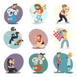 Cartoon Casual People Hipster Geek Goth Mobile Phone Coffie Characters. Cartoon Casual People Hipster Geek Goth Phone Coffie Characters Icon Set Design Retro Royalty Free Stock Photos