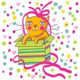 Cartoon cat. Cute cartoon cat in a present box Stock Photo
