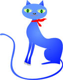 Cartoon cat. Graceful blue cartoon cat with red bow Royalty Free Stock Photo