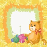 Cartoon cat and accessories for knitting Stock Image