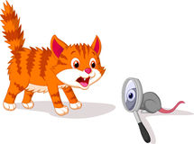 Cartoon Cat afraid of mouse with magnifying glass stock illustration