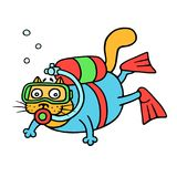 Cartoon cat with aqualung explores the depths of the sea. Vector illustration stock image