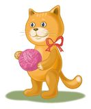 Cartoon cat with a ball of wool yarn Royalty Free Stock Photos