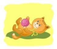Cartoon cat with a ball of wool yarn Royalty Free Stock Photography