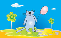 Cartoon cat with a balloon Royalty Free Stock Photos