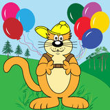 Cartoon Cat with Balloons in Park