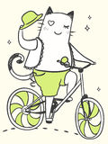 Cartoon cat on a bicycle. With a hat Stock Photo