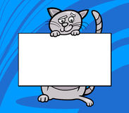 Cartoon cat with board or card Royalty Free Stock Photography
