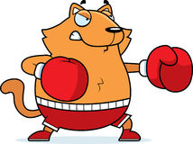Cartoon Cat Boxing. A cartoon illustration of a cat punching with boxing gloves Royalty Free Stock Photo